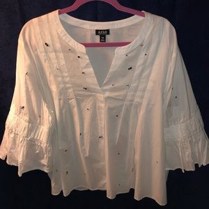 White Colorful Studded 3/4 Sleeve Blouse